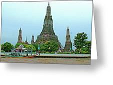 Temple Of The Dawn-wat Arun From Waterways Of Bangkok-thailand Greeting Card