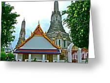 Temple Of The Dawn-wat Arun In Bangkok-thailand Greeting Card