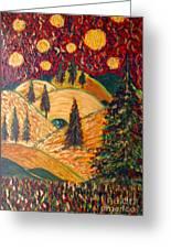 Ten Moons In Scarlet Sky Greeting Card
