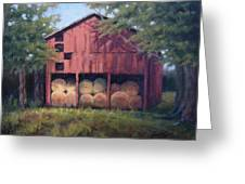 Tennessee Barn With Hay Bales Greeting Card by Janet King