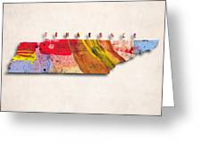 Tennessee Map Art - Painted Map Of Tennessee Greeting Card