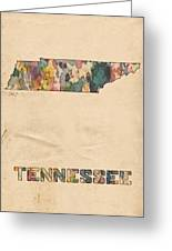 Tennessee Map Vintage Watercolor Greeting Card