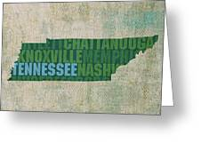Tennessee Word Art State Map On Canvas Greeting Card by Design Turnpike