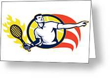 Tennis Player Flaming Racquet Ball Retro Greeting Card