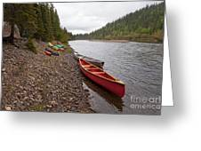 Tents And Canoes At Mcquesten River Yukon Canada Greeting Card