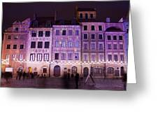 Terraced Historic Houses At Night In Warsaw Greeting Card