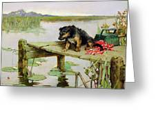 Terrier - Fishing Greeting Card