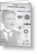 Tesla A / C Current Patent Art 1888 Greeting Card