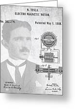 Tesla And The Electro Magnetic Motor Patent Greeting Card