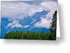 Teton Peaks Through Clouds In Grand Teton National Park-wyoming   Greeting Card