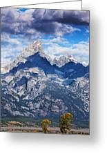 Teton Range And Two Trees Greeting Card