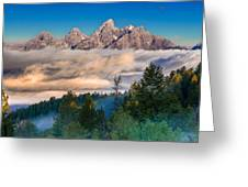 Tetons Above The Clouds Greeting Card