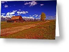Tetons And Gambrel Barn Perspective Greeting Card
