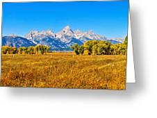 Tetons Autumn Panorama Greeting Card