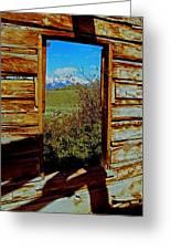 Tetons Through Log House Window Greeting Card