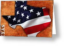 Texas American Flag Map Greeting Card