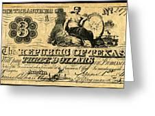 Texas Banknote, 1841 Greeting Card