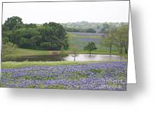 Texas Bluebonnets And Lake Greeting Card by Ellen Howell