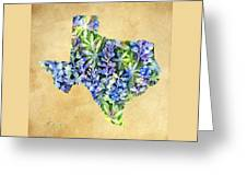 Texas Blues Texas Map Greeting Card