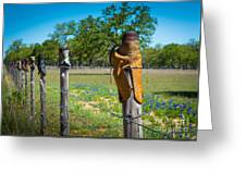 Texas Boot Fence Greeting Card