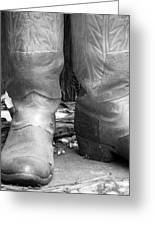 Texas Boots Portrait - Bw 02 Greeting Card