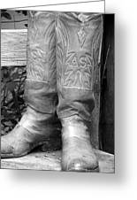 Texas Boots Portrait - Bw 03 Greeting Card