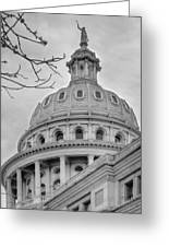 Texas Capital Dome In Monochrome Greeting Card
