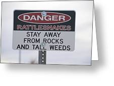 Texas Danger Rattle Snakes Signage Greeting Card