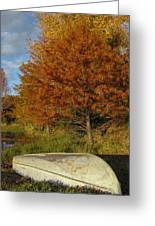 Texas Fall Color With Boat Greeting Card