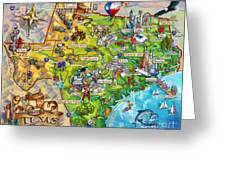 Texas Illustrated Map Greeting Card