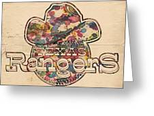 Texas Rangers Vintage Art Greeting Card