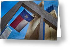 Texas State Flag Downtown Dallas Greeting Card