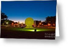 Texas Tech Seal At Night Greeting Card by Mae Wertz