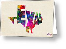 Texas Typographic Watercolor Flag Greeting Card