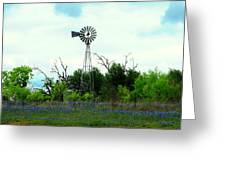 Texas Windmill And Bluebonnets Greeting Card