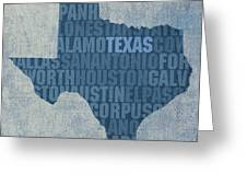 Texas Word Art State Map On Canvas Greeting Card