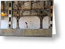 Texting Girl W/ Viaduct Greeting Card by Joe Kotas