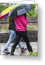 Texting In The Rain Greeting Card