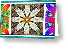 Textured Flower Kaleidoscope Triptych Greeting Card