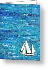 Textured Sea With Sailboat Greeting Card by Lauretta Curtis
