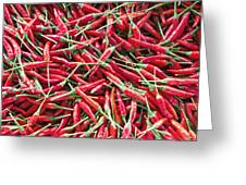 Thai Chili Peppers Background Greeting Card