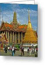 Thai-khmer Pagoda And Golden Chedis At Grand Palace Of Thailand  Greeting Card