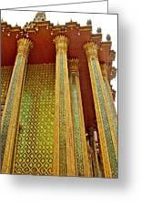 Thai-kmer Pagoda Columns At Grand Palace Of Thailand In Bangkok Greeting Card