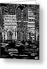 Thames In Winter Greeting Card by Hilary Rosen
