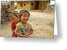Tharu Village Children Love To Greet Us-nepal- Greeting Card