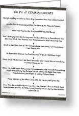 The 10 Commandments For Pets On Black Marble Greeting Card
