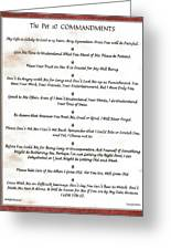The 10 Commandments For Pets On Red Marble Greeting Card