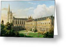 The Abbey Church Of Saint-denis And The School Of The Legion Of Honour In 1840 Oil On Canvas Greeting Card