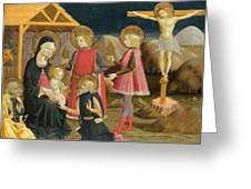 The Adoration Of The Kings And Christ On The Cross Greeting Card
