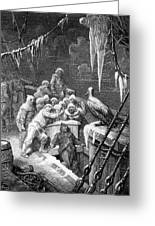 The Albatross Being Fed By The Sailors On The The Ship Marooned In The Frozen Seas Of Antartica Greeting Card by Gustave Dore